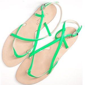 CORNETTI Neon Lime Italian Patent Leather Sandal10